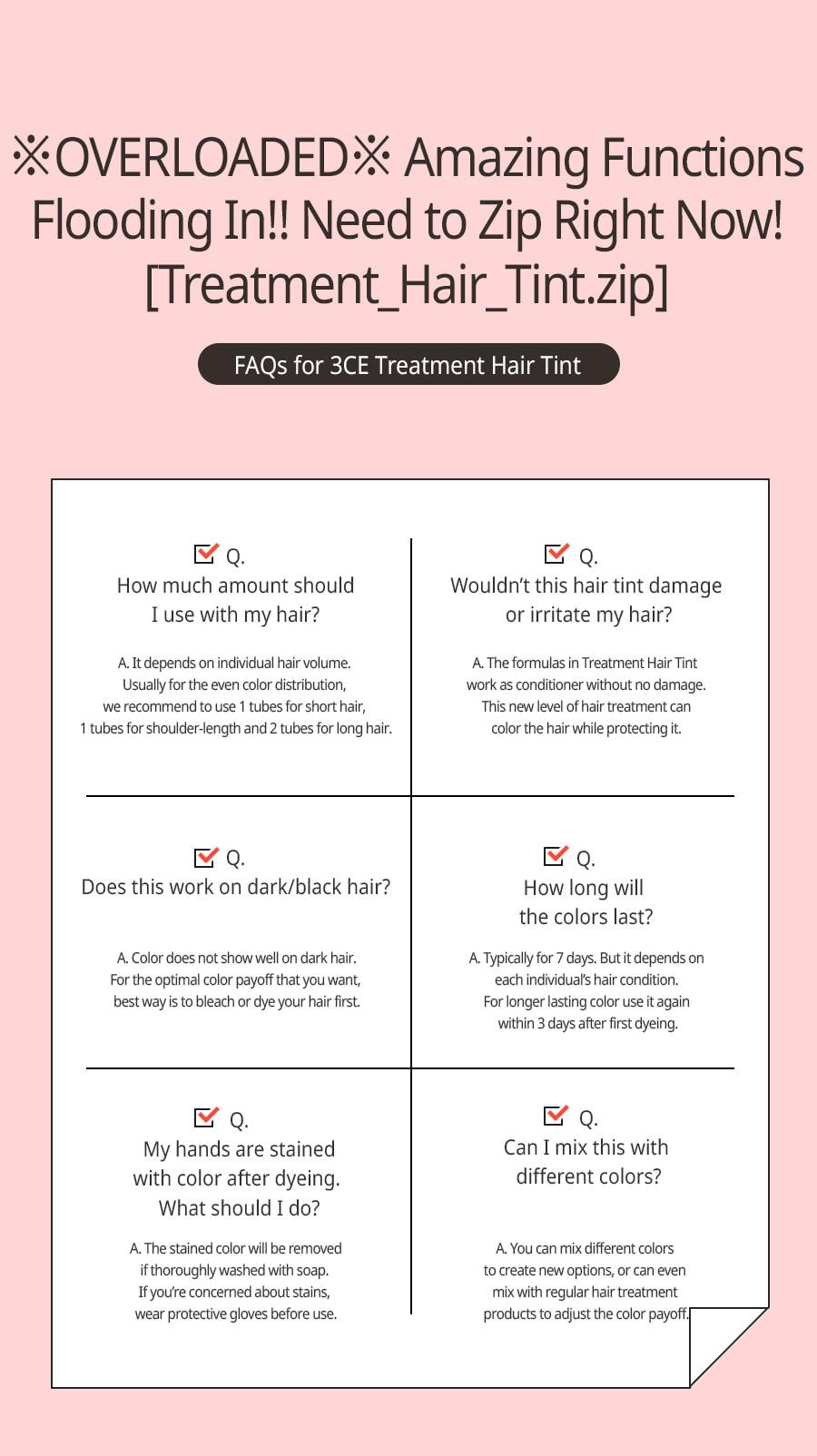 Thuốc Nhuộm Tóc Tạm Thời 3CE Treatment Hair Tint