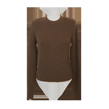 Single Tone Extended Sleeve Fuzzy Sweater by Stylenanda