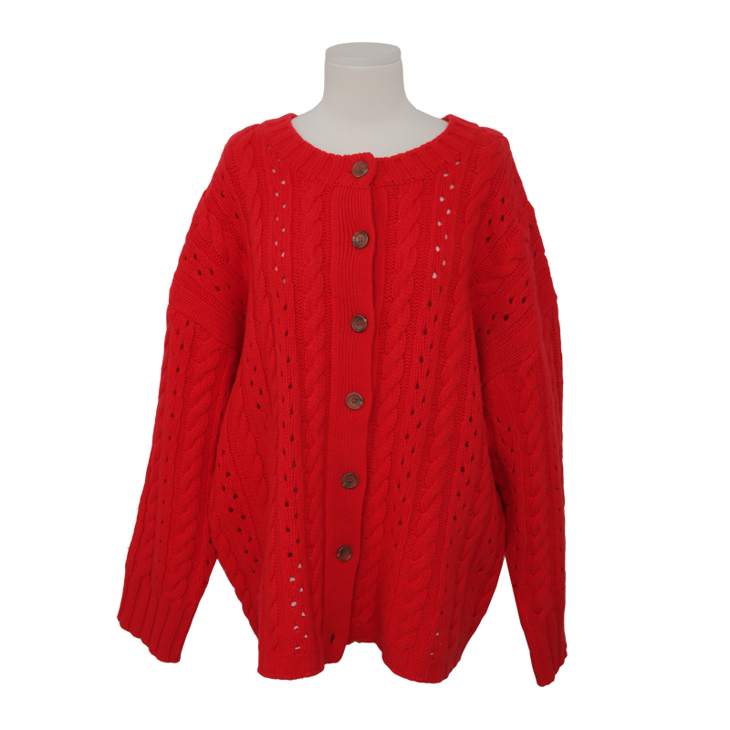 Eyelet Detail Cable Pattern Cardigan by Stylenanda