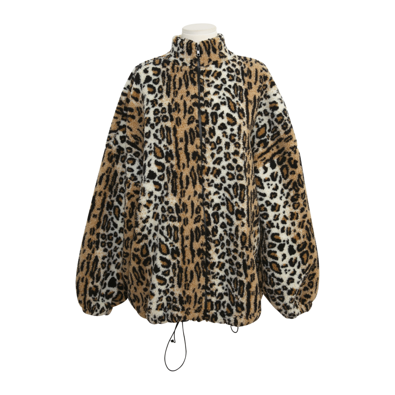 High Collar Leopard Print Zip Up Jacket by Stylenanda
