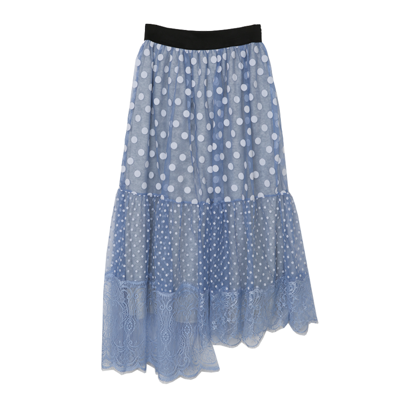 Sheer Overlay Mix Polka Dot Print Skirt The Delivery Starts From 31st Dec. Along With Your Purchase Order!! by Stylenanda