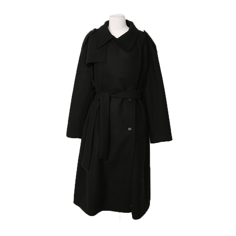 Off Center Button Trench Coat The Delivery Starts From 31st Dec. Along With Your Purchase Order!! by Stylenanda