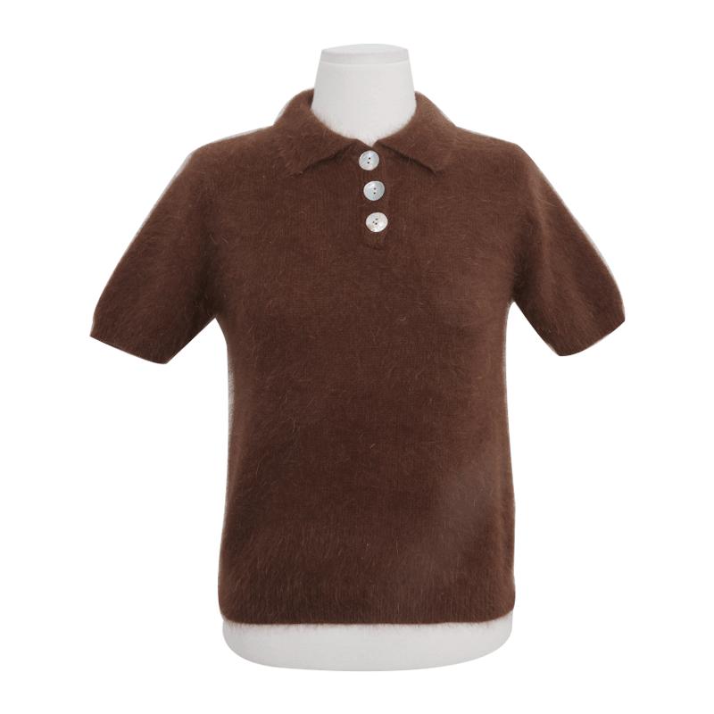 Short Sleeve Knit Polo Shirt by Stylenanda