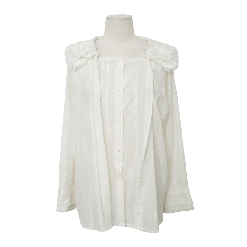 Buttoned Front Fringe Trim Collar Blouse The Delivery Starts From 11th Feb. Along With Your Purchase Order!! by Stylenanda
