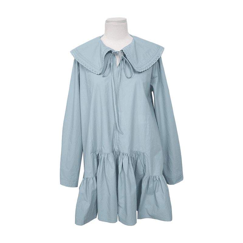 Lace Trimmed Collar Flounced Dress Only The Color Sky Blue Will Be Delivered From 12th Feb. Along With Your Purchase Order!! by Stylenanda