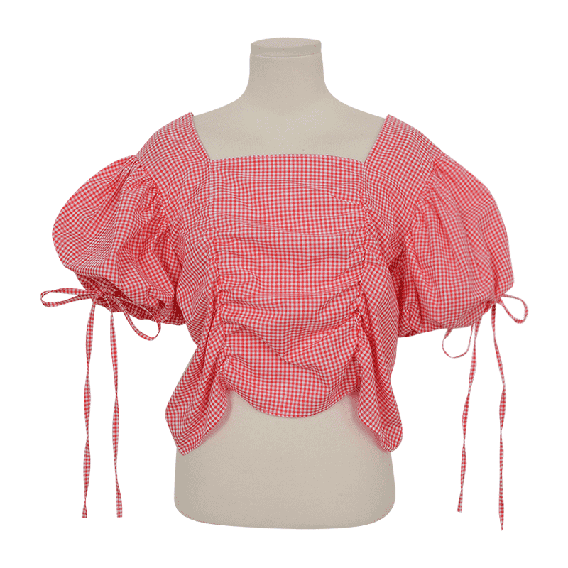 Self Tie Puff Sleeve Check Blouse by Stylenanda