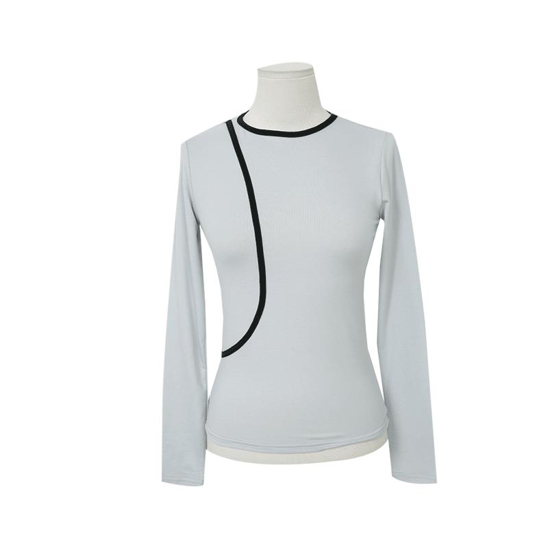 Contrast Trim Long Sleeve T Shirt by Stylenanda