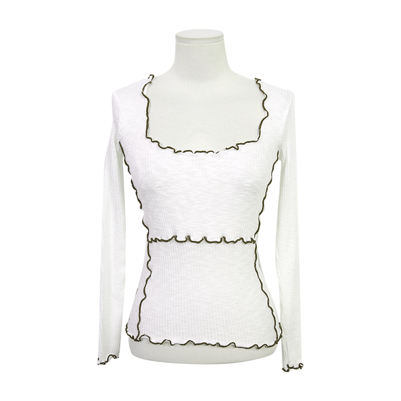 Contrast Lettuce Trim Ribbed Top by Stylenanda