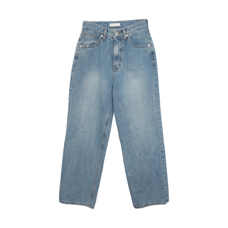 Faded Wash Loose Straight Jeans by Stylenanda