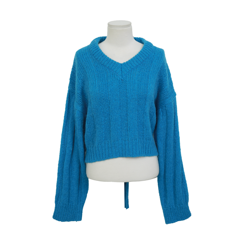 Self Tie Back Ribbed Sweater by Stylenanda
