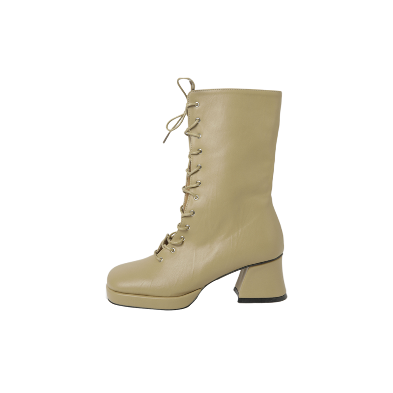 Chunky Heel Lace Up Boots by Stylenanda