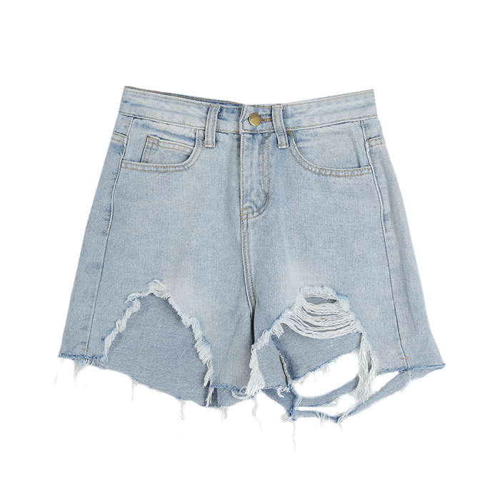 Faded Pre-Damaged Denim Shorts | STYLENANDA