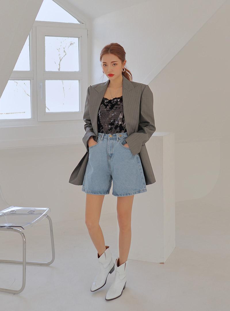 57f54976395 Product   Buttoned-Tab Waist Loose Leg Denim Shorts