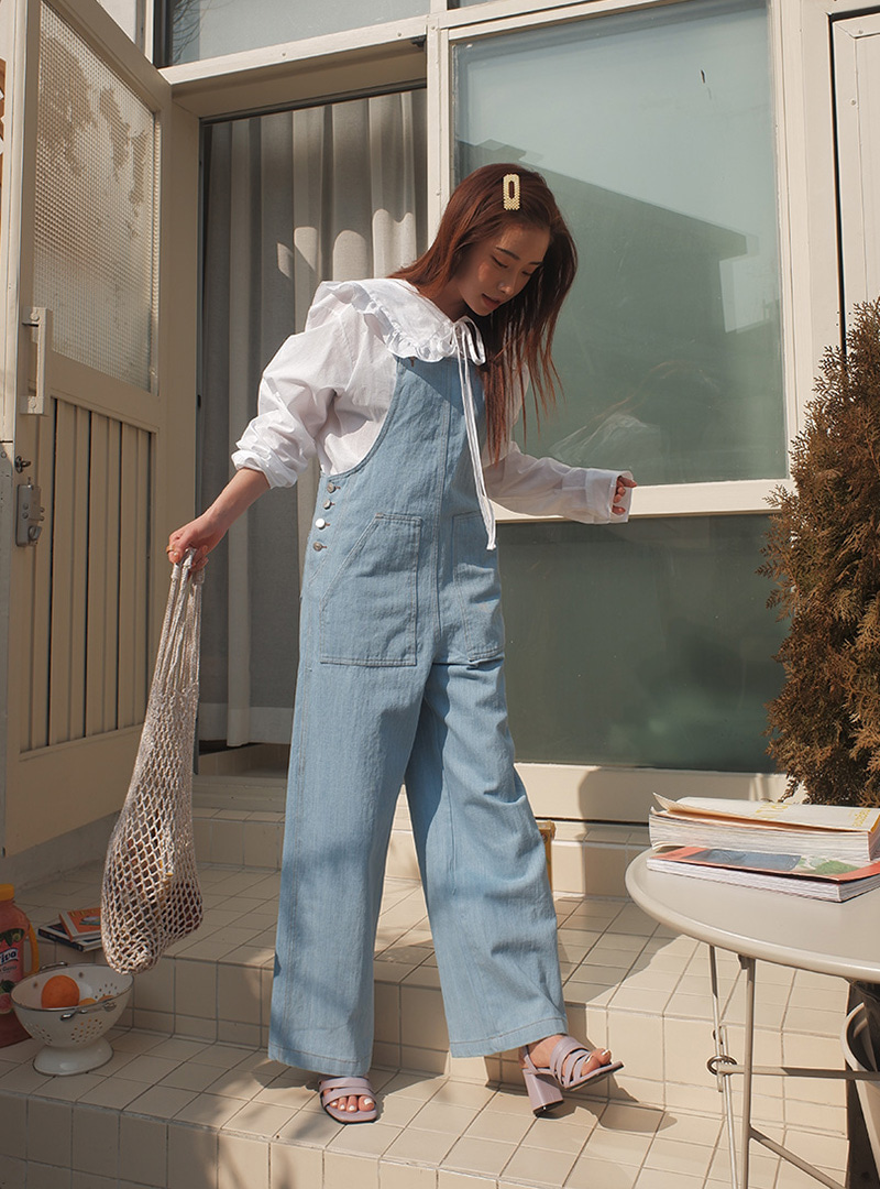 8860a4ec744 Product   Side Button Wide Leg Denim Overalls